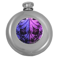 Beautiful Lilac Fractal Feathers of the Starling Round Hip Flask (5 oz)