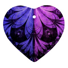 Beautiful Lilac Fractal Feathers of the Starling Heart Ornament (Two Sides)