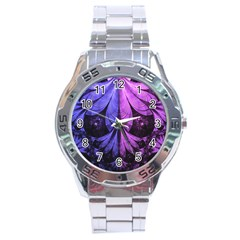 Beautiful Lilac Fractal Feathers of the Starling Stainless Steel Analogue Watch