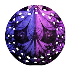 Beautiful Lilac Fractal Feathers of the Starling Round Filigree Ornament (Two Sides)
