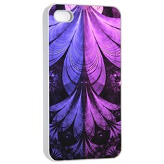 Beautiful Lilac Fractal Feathers of the Starling Apple iPhone 4/4s Seamless Case (White)