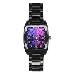 Beautiful Lilac Fractal Feathers of the Starling Stainless Steel Barrel Watch