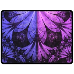 Beautiful Lilac Fractal Feathers of the Starling Double Sided Fleece Blanket (Large)