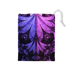 Beautiful Lilac Fractal Feathers of the Starling Drawstring Pouches (Medium)