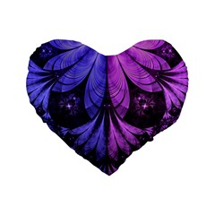 Beautiful Lilac Fractal Feathers Of The Starling Standard 16  Premium Flano Heart Shape Cushions