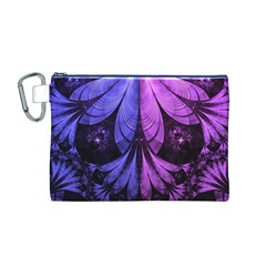 Beautiful Lilac Fractal Feathers of the Starling Canvas Cosmetic Bag (M)