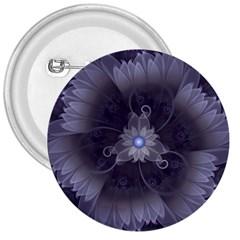 Amazing Fractal Triskelion Purple Passion Flower 3  Buttons
