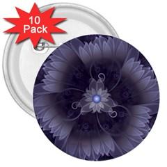 Amazing Fractal Triskelion Purple Passion Flower 3  Buttons (10 pack)
