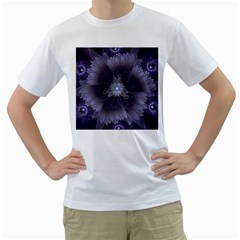 Amazing Fractal Triskelion Purple Passion Flower Men s T-Shirt (White) (Two Sided)