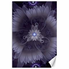 Amazing Fractal Triskelion Purple Passion Flower Canvas 24  x 36