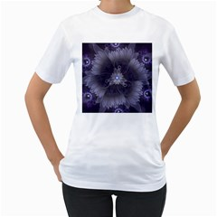 Amazing Fractal Triskelion Purple Passion Flower Women s T-Shirt (White)