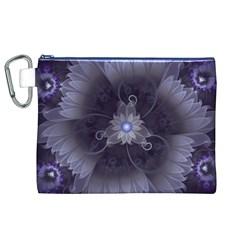 Amazing Fractal Triskelion Purple Passion Flower Canvas Cosmetic Bag (XL)