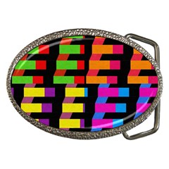 Colorful Rectangles And Squares                        Belt Buckle