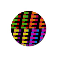 Colorful rectangles and squares                        Rubber Round Coaster (4 pack)