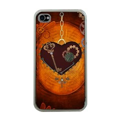 Steampunk, Heart With Gears, Dragonfly And Clocks Apple iPhone 4 Case (Clear)