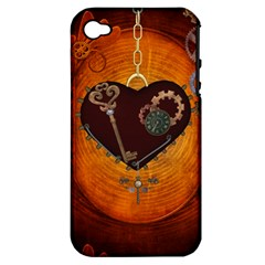 Steampunk, Heart With Gears, Dragonfly And Clocks Apple iPhone 4/4S Hardshell Case (PC+Silicone)