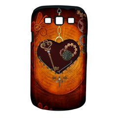 Steampunk, Heart With Gears, Dragonfly And Clocks Samsung Galaxy S III Classic Hardshell Case (PC+Silicone)