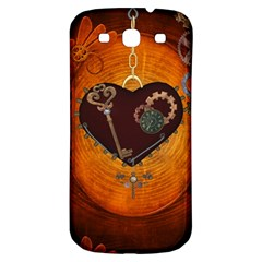 Steampunk, Heart With Gears, Dragonfly And Clocks Samsung Galaxy S3 S III Classic Hardshell Back Case