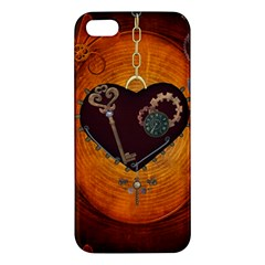 Steampunk, Heart With Gears, Dragonfly And Clocks Apple iPhone 5 Premium Hardshell Case
