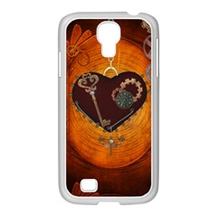 Steampunk, Heart With Gears, Dragonfly And Clocks Samsung GALAXY S4 I9500/ I9505 Case (White)