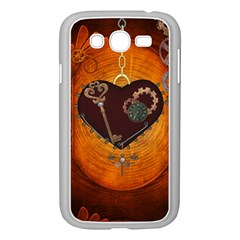 Steampunk, Heart With Gears, Dragonfly And Clocks Samsung Galaxy Grand DUOS I9082 Case (White)