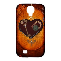Steampunk, Heart With Gears, Dragonfly And Clocks Samsung Galaxy S4 Classic Hardshell Case (PC+Silicone)