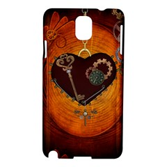 Steampunk, Heart With Gears, Dragonfly And Clocks Samsung Galaxy Note 3 N9005 Hardshell Case