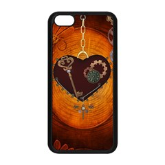 Steampunk, Heart With Gears, Dragonfly And Clocks Apple Iphone 5c Seamless Case (black)