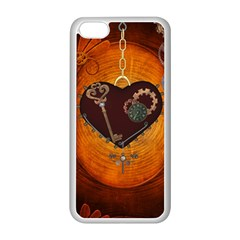 Steampunk, Heart With Gears, Dragonfly And Clocks Apple iPhone 5C Seamless Case (White)