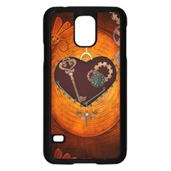 Steampunk, Heart With Gears, Dragonfly And Clocks Samsung Galaxy S5 Case (Black)