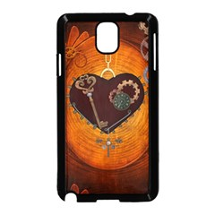 Steampunk, Heart With Gears, Dragonfly And Clocks Samsung Galaxy Note 3 Neo Hardshell Case (Black)