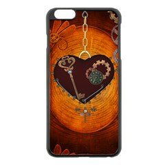 Steampunk, Heart With Gears, Dragonfly And Clocks Apple iPhone 6 Plus/6S Plus Black Enamel Case