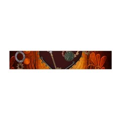 Steampunk, Heart With Gears, Dragonfly And Clocks Flano Scarf (Mini)