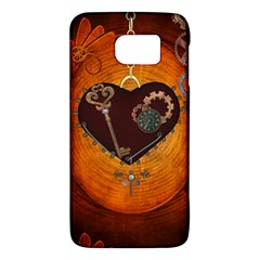 Steampunk, Heart With Gears, Dragonfly And Clocks Galaxy S6