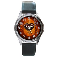 Steampunk, Heart With Gears, Dragonfly And Clocks Round Metal Watch
