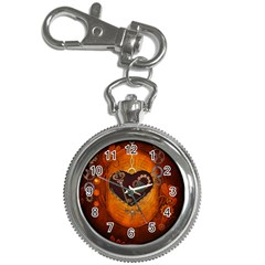 Steampunk, Heart With Gears, Dragonfly And Clocks Key Chain Watches