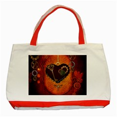 Steampunk, Heart With Gears, Dragonfly And Clocks Classic Tote Bag (Red)