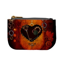 Steampunk, Heart With Gears, Dragonfly And Clocks Mini Coin Purses