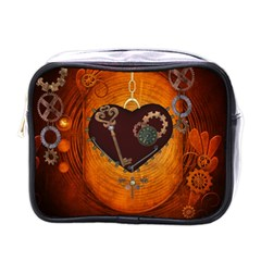 Steampunk, Heart With Gears, Dragonfly And Clocks Mini Toiletries Bags