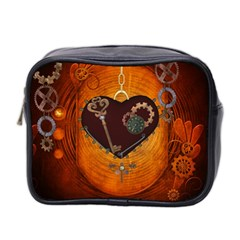 Steampunk, Heart With Gears, Dragonfly And Clocks Mini Toiletries Bag 2-Side