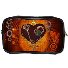 Steampunk, Heart With Gears, Dragonfly And Clocks Toiletries Bags