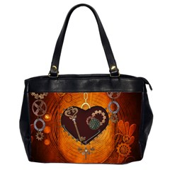 Steampunk, Heart With Gears, Dragonfly And Clocks Office Handbags (2 Sides)