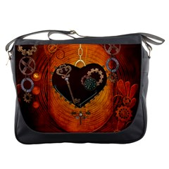 Steampunk, Heart With Gears, Dragonfly And Clocks Messenger Bags