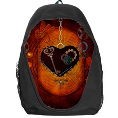 Steampunk, Heart With Gears, Dragonfly And Clocks Backpack Bag