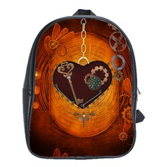 Steampunk, Heart With Gears, Dragonfly And Clocks School Bags (XL)