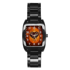 Steampunk, Heart With Gears, Dragonfly And Clocks Stainless Steel Barrel Watch
