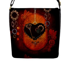 Steampunk, Heart With Gears, Dragonfly And Clocks Flap Messenger Bag (L)