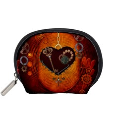 Steampunk, Heart With Gears, Dragonfly And Clocks Accessory Pouches (Small)