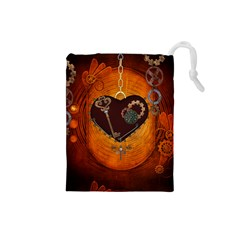 Steampunk, Heart With Gears, Dragonfly And Clocks Drawstring Pouches (Small)