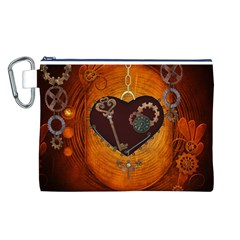 Steampunk, Heart With Gears, Dragonfly And Clocks Canvas Cosmetic Bag (L)